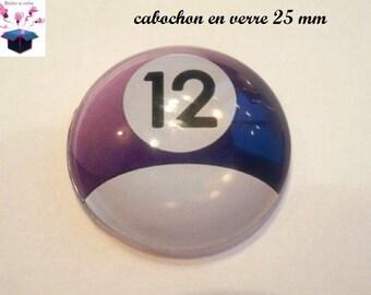 1 cabochon clear 25 mm theme billiard ball