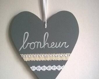 """coeur en bois """"bonheur"""" à suspendre"""