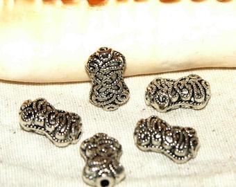 Beads X 5 Indian filigree Tibetan silver nickel free