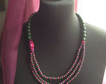 Plum and green beaded necklace