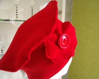 Red fleece chemo Cap beret and red flower