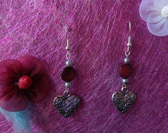 Pearl and heart earrings
