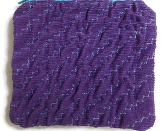 Make Up Pouch in Purple Corduroy with Texture, Cards Case, Coin Purse, Coupon Holder, Small Necessities Bag, Zippered and Fully Lined OOAK