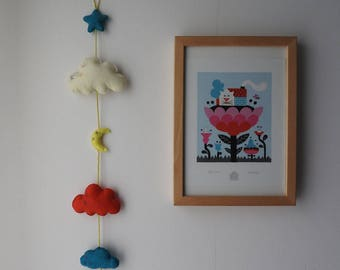 FELT vertical - clouds, stars and moon Garland - colorful and original!