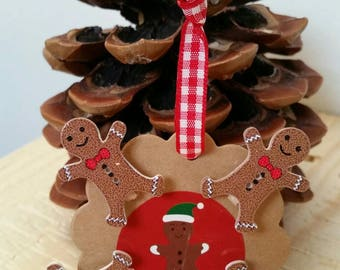 Set of 4 mini clothespins wooden gingerbread man