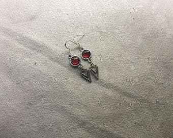 small Burgundy fine earring