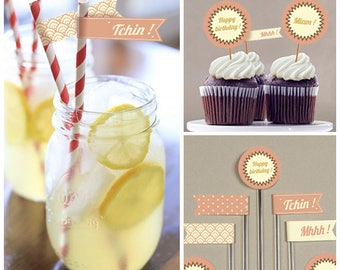 Toppers and flags, printable birthday decoration Kit, theme: retro
