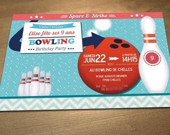 Personalized printable birthday invitation theme: bowling