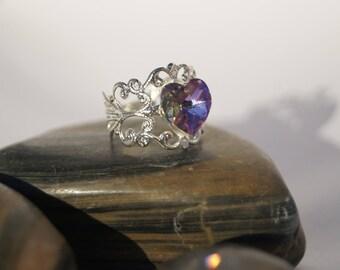 Swarovski heart shaped filigree bead ring