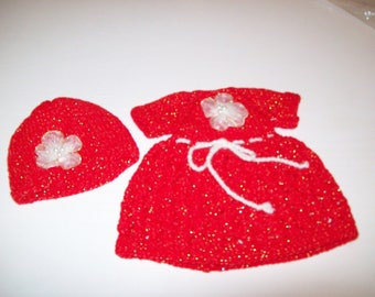 clothes for dolls 32/33 cm (dress, hat) made with a fancy yarn