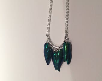 Elytras beetle wings necklace