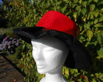 black and Red vinyl rain hat lined with cotton black linen designer child woman ' EVA