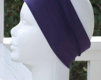 stretch headband in plum jersey designer linen ' eva