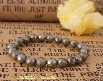 Pyrite bracelet faceted - natural - free shipping