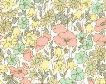 Printed fabric Liberty pattern Liberty Poppy Daisy poppy Pastel pink green