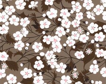 Liberty Mitsi Liberty chocolate brown taupe pattern print fabric