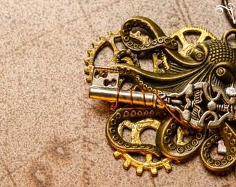 Steampunk Octopus Kraken bronze clockwork key - Guardian necklace