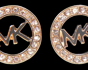 MK-0301 Golden stud earrings with stones Fashion