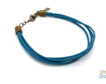 1 blue turquoise to customize (bra30) bronze clasp leather bracelet
