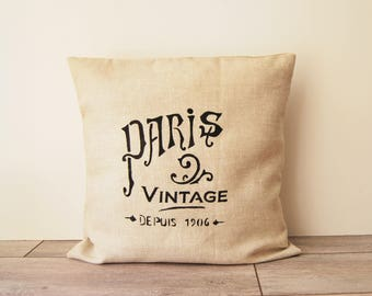 Cushion cover in linen, pattern of Paris, Paris gift, french design