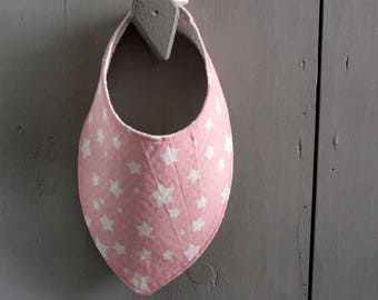Pink bandana bib with white stars