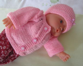 "Doll, doll or premature baby clothing: jacket and bonnet ""pink"" for size 40-45 cms hand made knit"