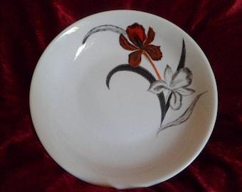 customizable iris pattern hand painted porcelain dish