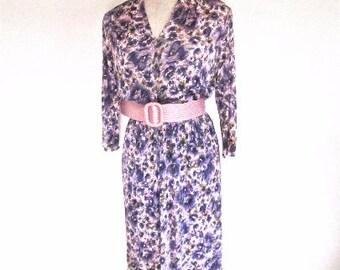 M L 50s 60s Purple Pink Floral Nylon Sleeve V Neckline Vintage Dress Medium Large