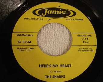 The Sharps 45 RPM Record - Here's My Heart B/W Gig-A-Lene - Jamie Records - 1959
