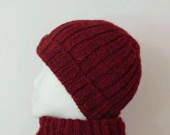 Hand knitted unisex Beanie in Burgundy Red alpaca wool