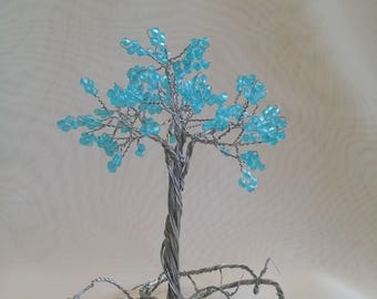 Blue bead tree sculpture