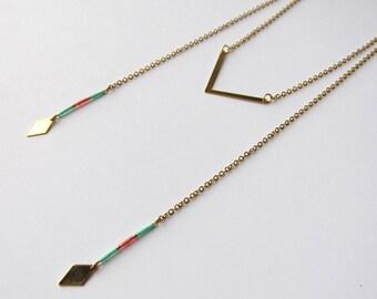 Long thin minimalist chevron brass and Miyuki beads