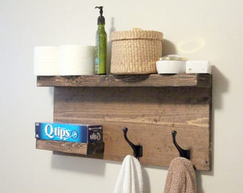 Large Modern Bathroom 2 Tier Floating Shelf, Towel Rack, Bronze Robe Hooks, Rustic Wood, Modern Coat Rack, Rustic bathroom decor