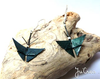 Origami butterflies with green earrings