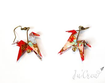 Origami Red Horse earrings