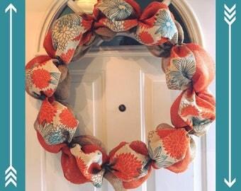 Floral Burlap Front Door Wreath