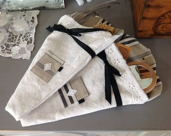 Small bag or storage pouch in old linen and Monogram