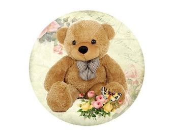 2 cabochons glass Teddy Bear brown bear 14 mm - 14 mm