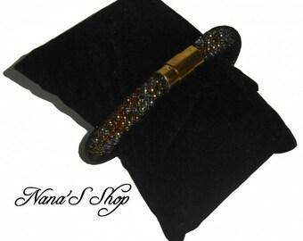 Tubular mesh, silver and gold Beads Bracelet