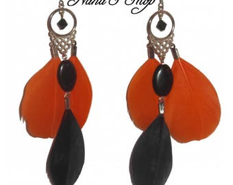 Earrings feather, black & orange