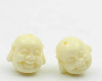 Set of two bead spacer Maitreya Buddha 11x10.5mm