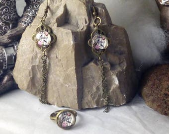 All balls earrings and ring, small birds
