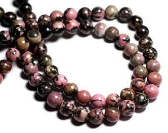 Wire 39cm env - stone beads - pink and black Rhodonite 32pc balls 12 mm