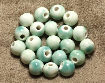 Bag 10pc - green ceramic beads 10mm 4558550032683 balls turquoise