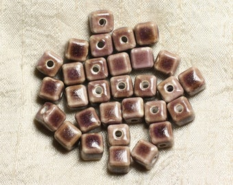 10pc - ceramic beads 10mm hole 3mm Brown purple 4558550005748 Cubes