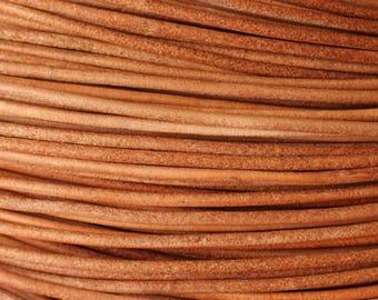 Skein 90 meters - wire cord genuine leather 2mm Beige - 8741140014398