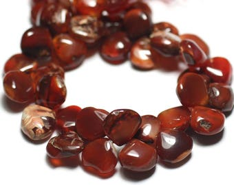 Wire 20cm approx - stone beads - carnelian 42pc drops 7-12mm N9 - gradient 8741140022874