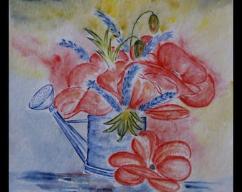 pretty creabijoux - summer 2014 illustration original watercolor on paper arches poppies collection!