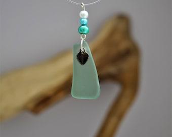 Turquoise Pembrokeshire sea glass pendant necklace