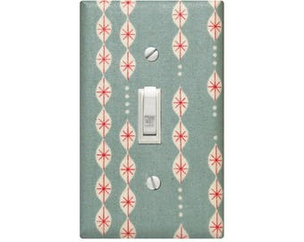 Retro Vintage Feel Jade Geometric Fabric Light Switch Plate Cover Decoupaged Switchplate Nursery Bedroom Living Room Kitchen Home Wall Decor